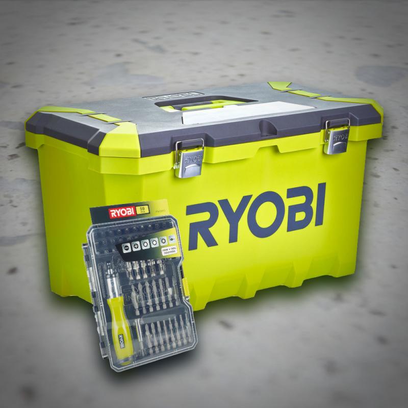 Ryobi - Værktøjskasse & Bitsæt