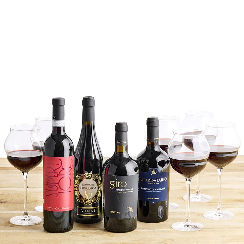 Vinpakke, Maracon glas og Italien rundt